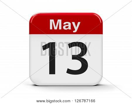 Calendar web button - The Thirteenth of May three-dimensional rendering 3D illustration