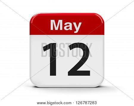 Calendar web button - The Twelfth of May - International Nurses Day three-dimensional rendering 3D illustration