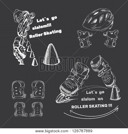 Vector illustration of set for Roller Skates with text. Isolated logo  hand drawn elements, helmet, protection, con, roller skates