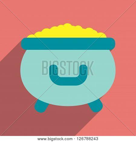 Flat web icon with long shadow cauldron gold
