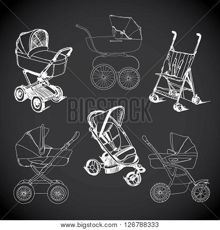 Vector illustration of set  hand drawn baby carriage, stroller, baby carrier, baby stroller.
