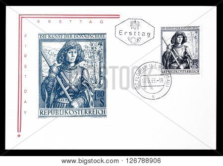 AUSTRIA - CIRCA 1965 : Cancelled First Day Cover letter printed by Austria, that shows Holy George sculpture.