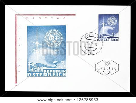 AUSTRIA - CIRCA 1965 : Cancelled First Day Cover letter printed by Austria, that shows Morse key, antenna and UIT badge.