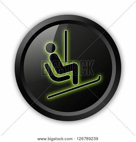 Icon Button Pictogram with Ski Lift symbol