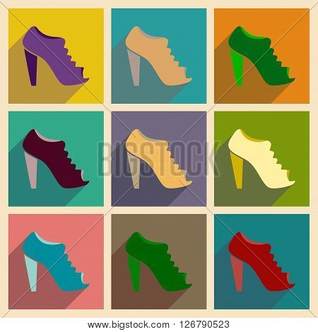 Concept of flat icons with long shadow  heeled shoes