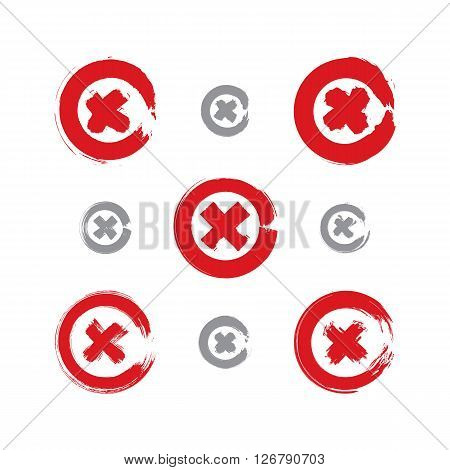 Set of hand-drawn close icons scanned and vectorized collection of brush drawing close pushbuttons hand-painted delete symbols isolated on white background.