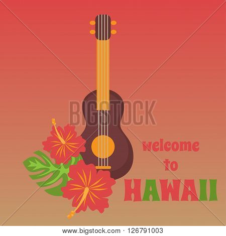 Poster with tropical palm leaves and flowers hibiscus flower hawaii with tribal guitar ukulele, exotic summer flower background