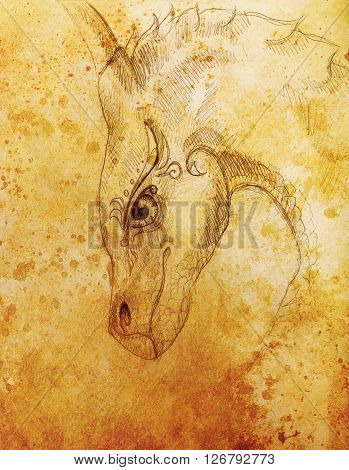 pencil drawing dragon and Sepia Color Abstract background