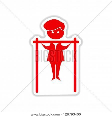 paper sticker on white  background man horizontal bar