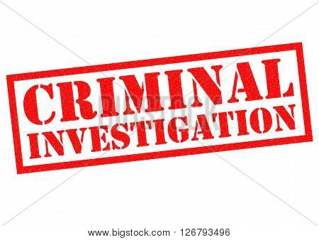 CRIMINAL INVESTIGATION red Rubber Stamp over a white background.