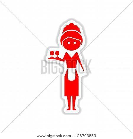 paper sticker on white  background girl waiter