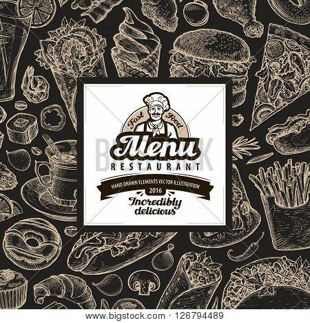 menu restaurant, cafe template design. sketch food