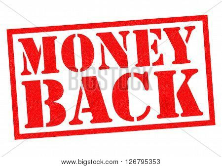 MONEY BACK red Rubber Stamp over a white background.