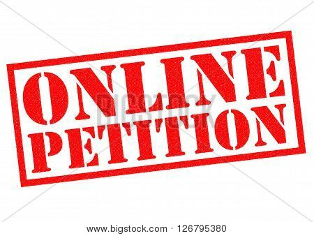 ONLINE PETITION red Rubber Stamp over a white background.