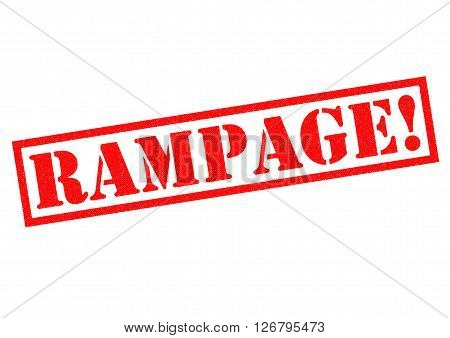 RAMPAGE! red Rubber Stamp over a white background.
