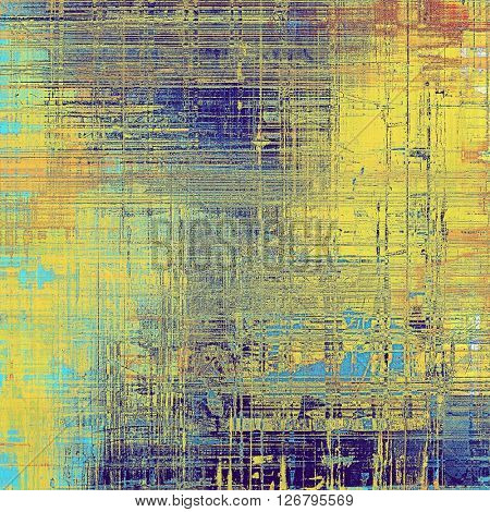 Old school elements on textured grunge background. With different color patterns: yellow (beige); brown; blue; red (orange); cyan