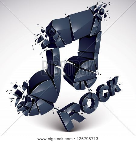 Black 3D Vector Musical Note Broken Into Pieces, Explosion Effect. Monochrome Dimensional Art Melody
