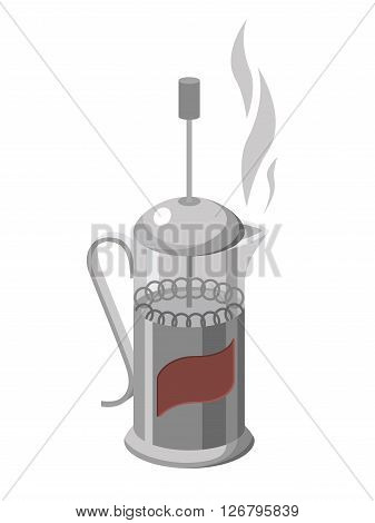 Vector illustration of french press isolated on white background.