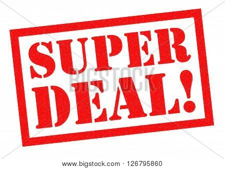 SUPER DEAL! red Rubber Stamp over a white background.