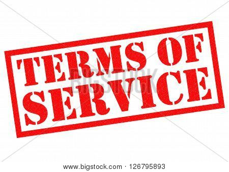 TERMS OF SERVICE red Rubber Stamp over a white background.