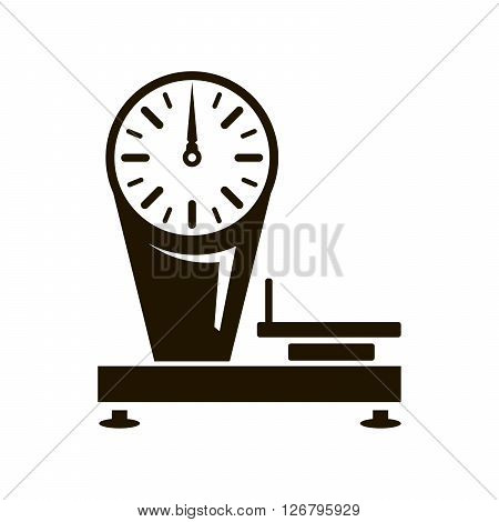 Mechanical shop scales. Black icon on white background