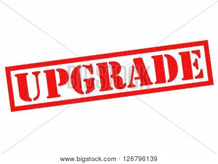 UPGRADE red Rubber Stamp over a white background.