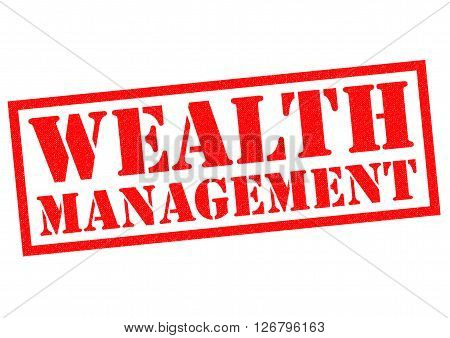 WEALTH MANAGEMENT red Rubber Stamp over a white background.
