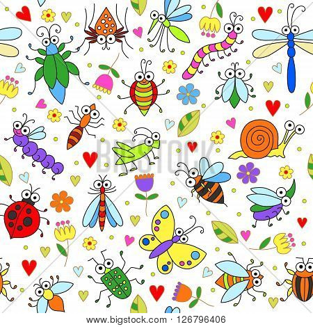 Seamless background with funny cartoon insects. Cute fly butterfly dragonfly snail beetle caterpillar ant spider ladybug grasshopper bee mosquito. Childish illustration in cartoon style.