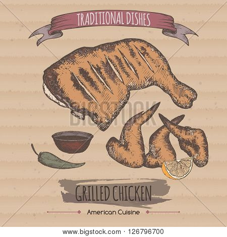 Color vintage grilled chicken template placed on cardboard background. American cuisine. Traditional dishes series. Great for market, restaurant, grill cafe, food label design.