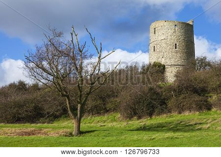 A view of the historic remains of Hadleigh Castle in Essex England.