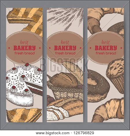 Set of 3 color bakery label templates with cakes, pie, bread, croissant, muffin, doughnut on black background. Great for market, restaurant, cafe, food label design.