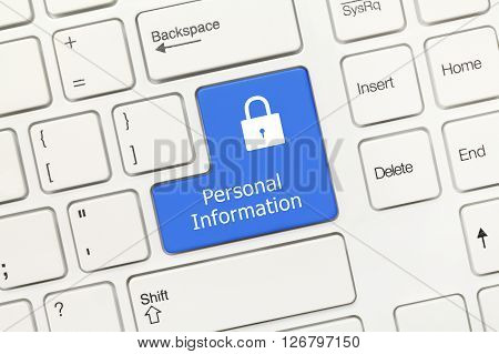 White Conceptual Keyboard - Personal Information (blue Key)