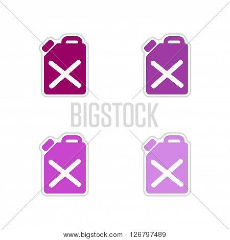 Set of paper stickers on white  background jerrycan