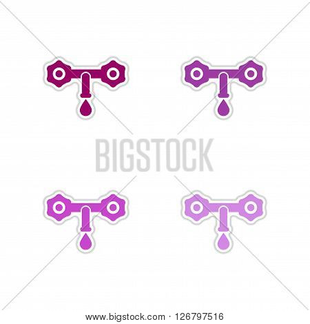 Set of paper stickers on white  background water faucet