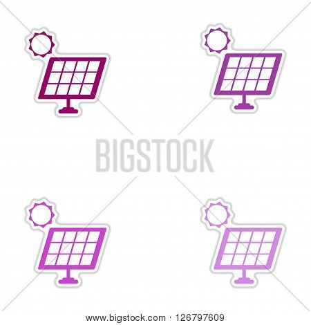 Set of paper stickers on white  background solar battery