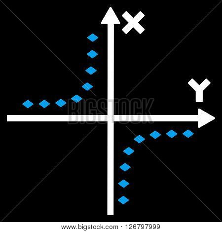 Dotted Hyperbola Plot vector toolbar icon. Style is bicolor flat icon symbol, blue and white colors, black background, rhombus dots.