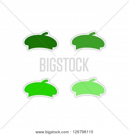 Set of paper stickers on white  background  hat beret