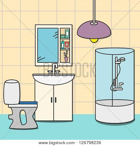 Design of room - bathroom with toilet shower sink closet with mirror. Vector illustration for interior.
