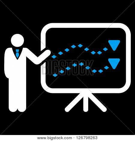 Trends Presentation vector toolbar icon. Style is bicolor flat icon symbol, blue and white colors, black background, rhombus dots.