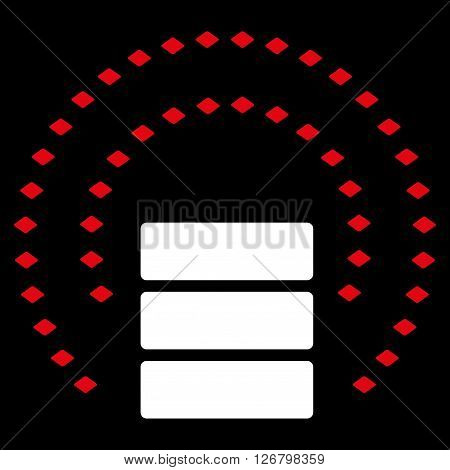 Database Sphere Shield vector toolbar icon. Style is bicolor flat icon symbol, red and white colors, black background, rhombus dots.