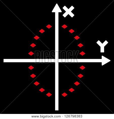 Dotted Ellipse Plot vector toolbar icon. Style is bicolor flat icon symbol, red and white colors, black background, rhombus dots.