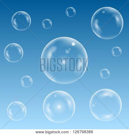 Transparent Soap bubble set on the blue background. Water bubble set on the blue sky. Vector illustration
