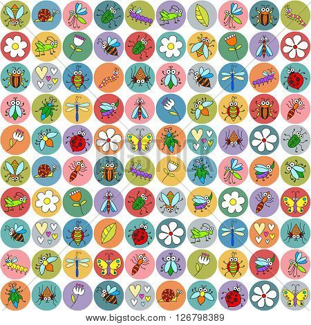 Seamless background with funny cartoon insects on stickers. Cute fly, butterfly, dragonfly, snail, beetle, ant, spider, ladybug, grasshopper, bee, mosquito. Childish illustration in cartoon style.