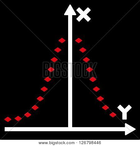 Dotted Gauss Plot vector toolbar icon. Style is bicolor flat icon symbol, red and white colors, black background, rhombus dots.
