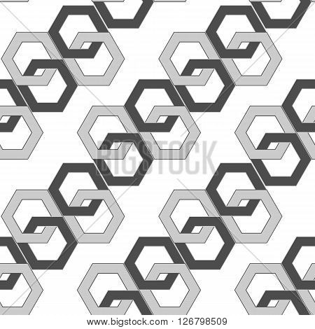 seamless pattern - hexagonal links of an abstract chain. vector illustration