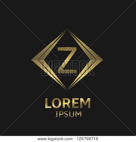 Golden Z letter logo. Creative business logo symbol. Elegant Z letter sign