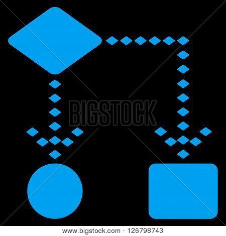 Algorithm Scheme vector toolbar icon. Style is flat icon symbol, blue color, black background, rhombus dots.