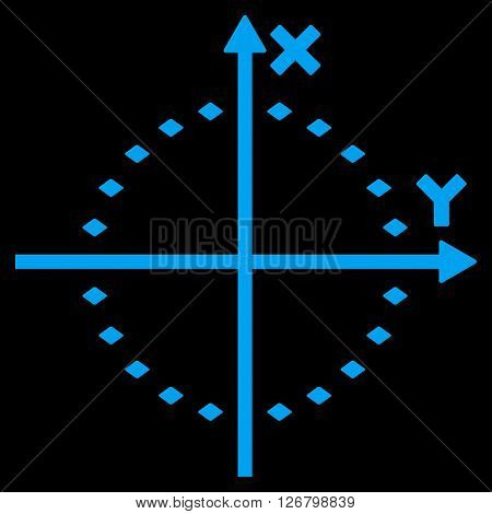 Dotted Circle Plot vector toolbar icon. Style is flat icon symbol, blue color, black background, rhombus dots.