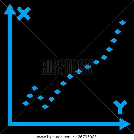 Dotted Function Plot vector toolbar icon. Style is flat icon symbol, blue color, black background, rhombus dots.