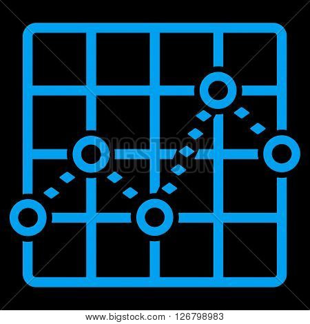 Dotted Line Grid Plot vector toolbar icon. Style is flat icon symbol, blue color, black background, rhombus dots.